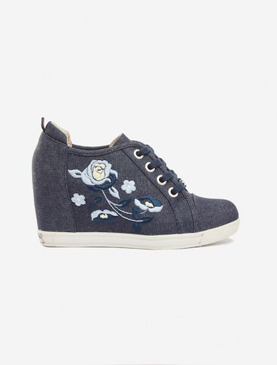 Samantha floral embroidery denim shoes - Dark Denim