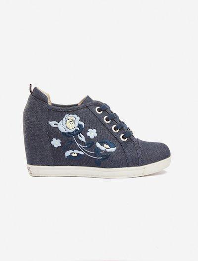 Samantha floral embroidery denim shoes