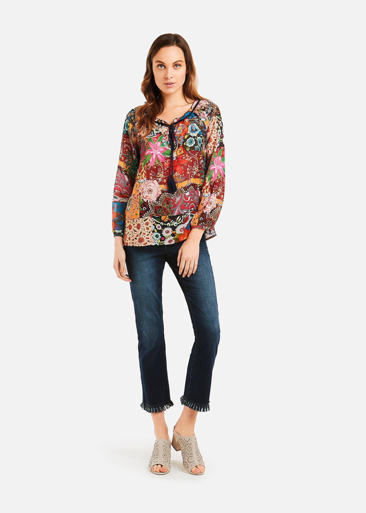 Cristy blouse with embroidery and lanyard - Rouge\ Fantasia