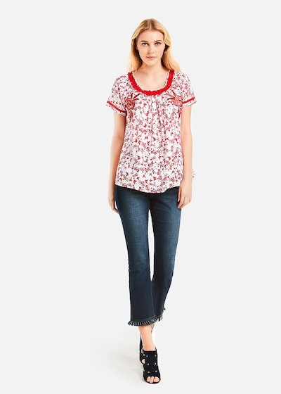 Cramer blouse white and red