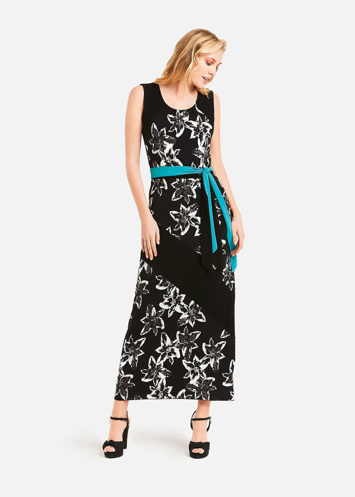 Alexis floral long dress - Black / White Fantasia