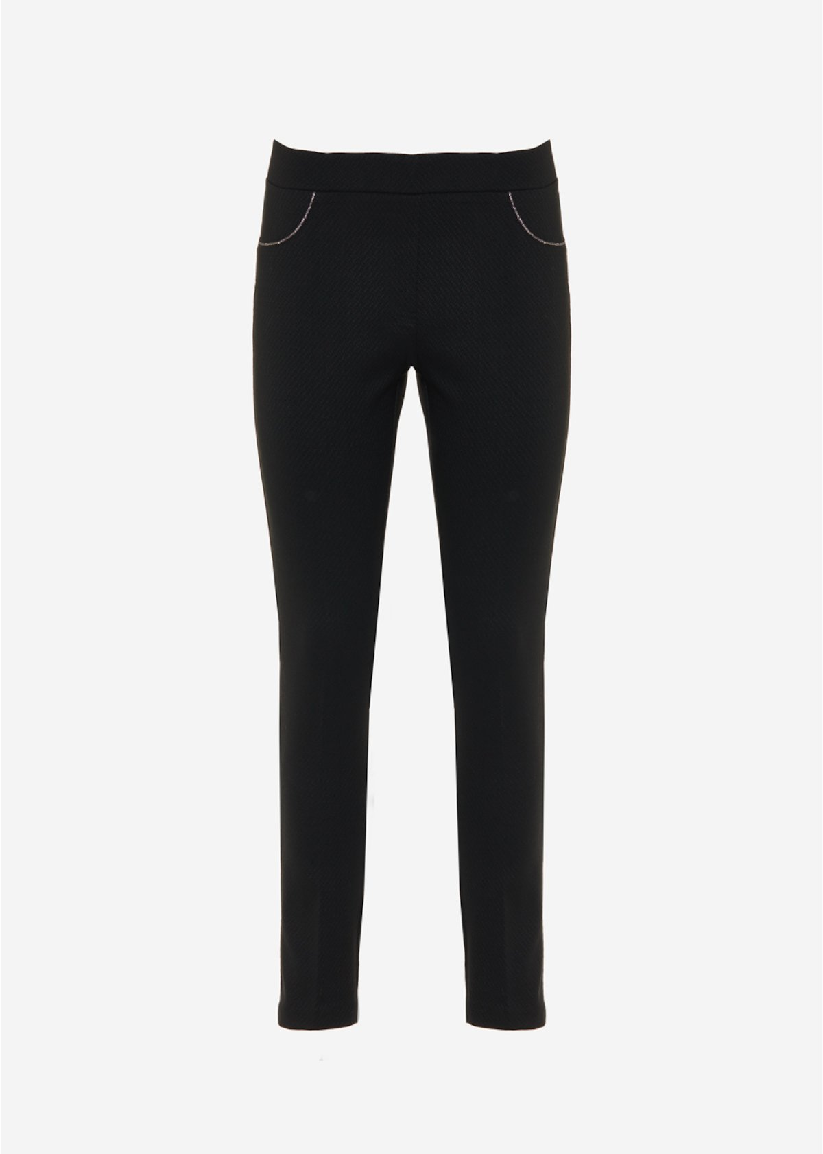 Paolo jeggings with lurex piping - Black