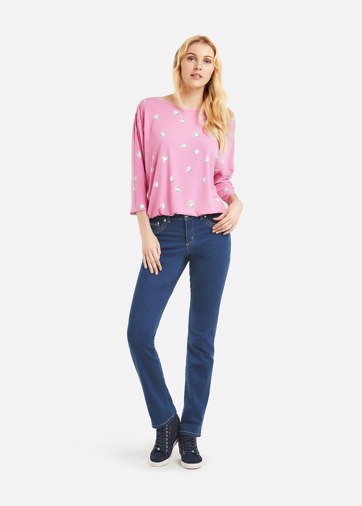 Sabrina T-shirt polka dots pattern - Cameo / White Pois