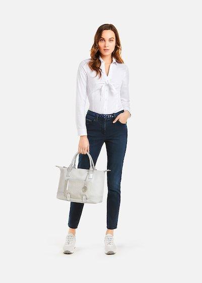 Carla Cotton Poplin Shirt with bow - Bianco