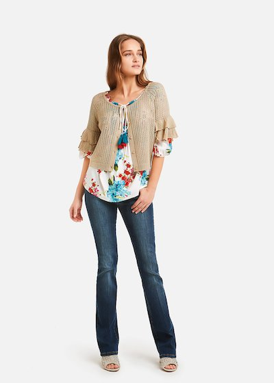 Cream shrug with double ruffle - Safari