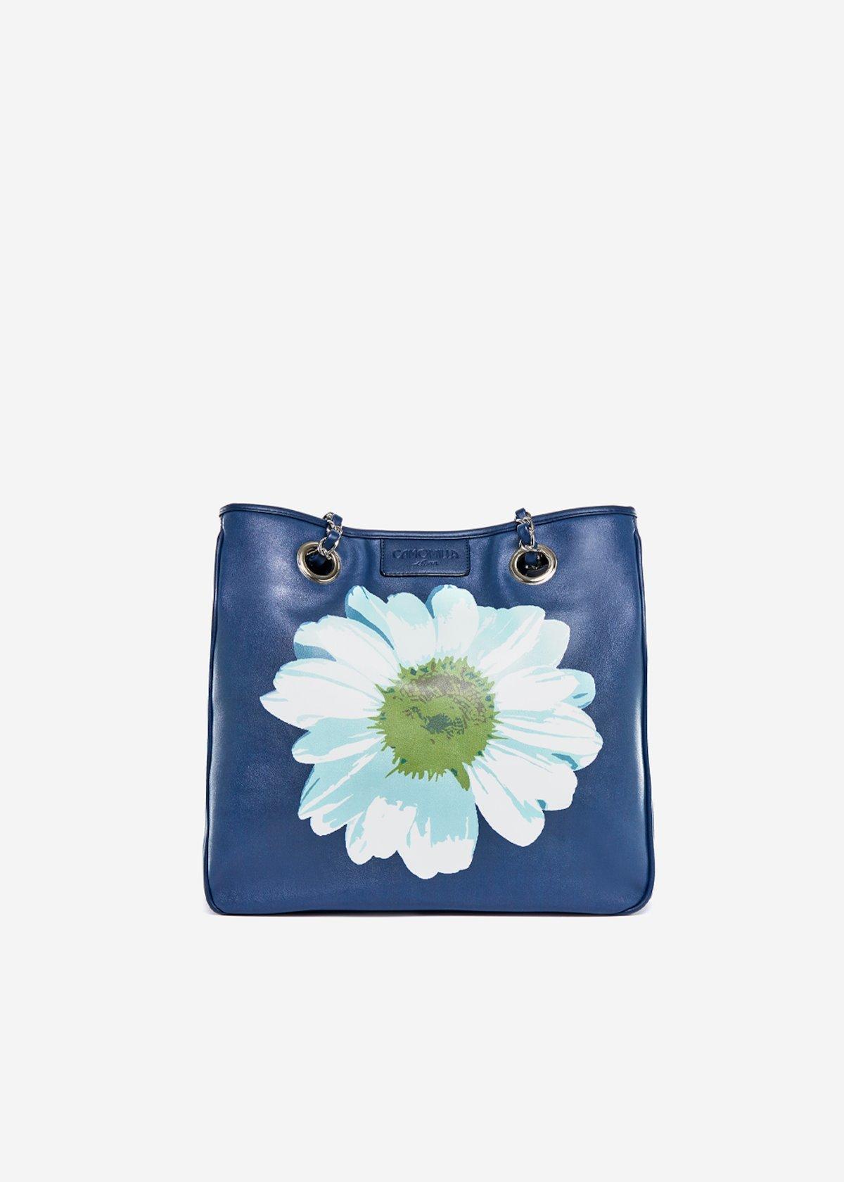 Bag Mini lady flower in eco leather Daisy - Medium Blue