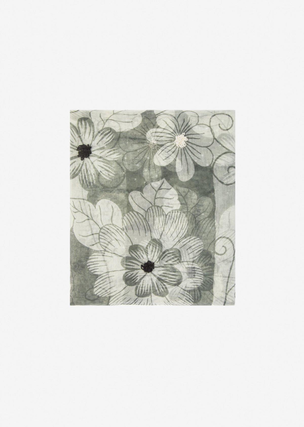 Sciarpa Soleila in seta e cotone fantasia fiore - Black Fantasia