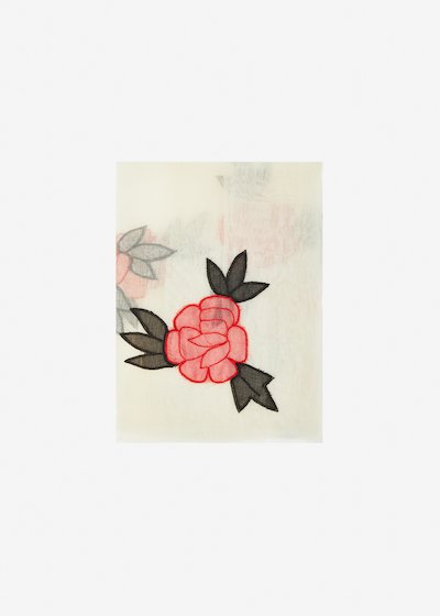 Serra silk and cotton scarf roses embroidery