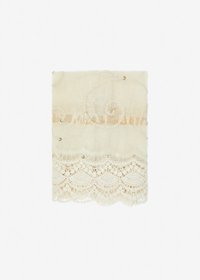 Cotton and silk Scraia scarf with lace and sequins - Bianco