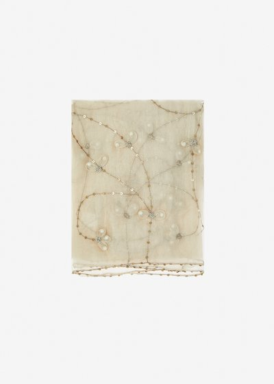 Sciza silk and cotton scarf with embroidery and sequins - Light Beige