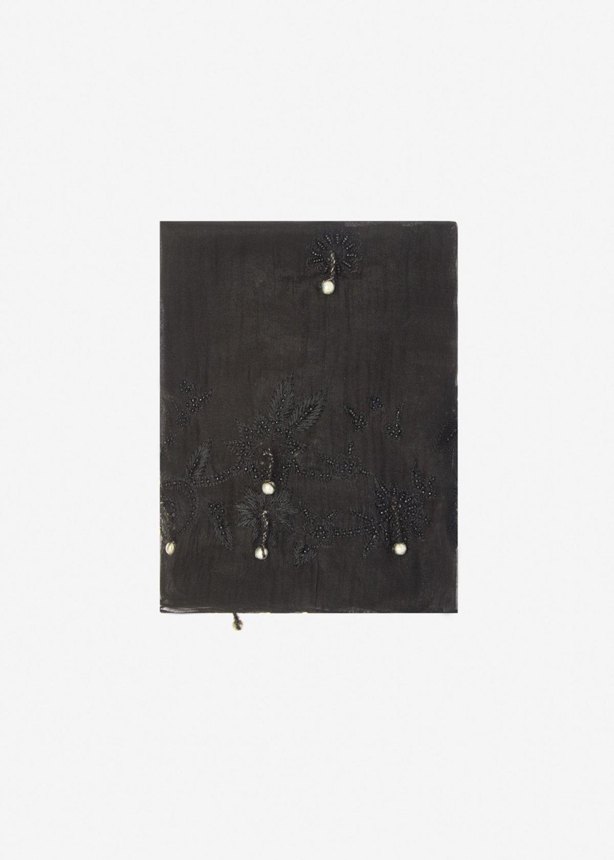 Sciarpa Stona in cotone e seta con dettaglio metal pearls - Black
