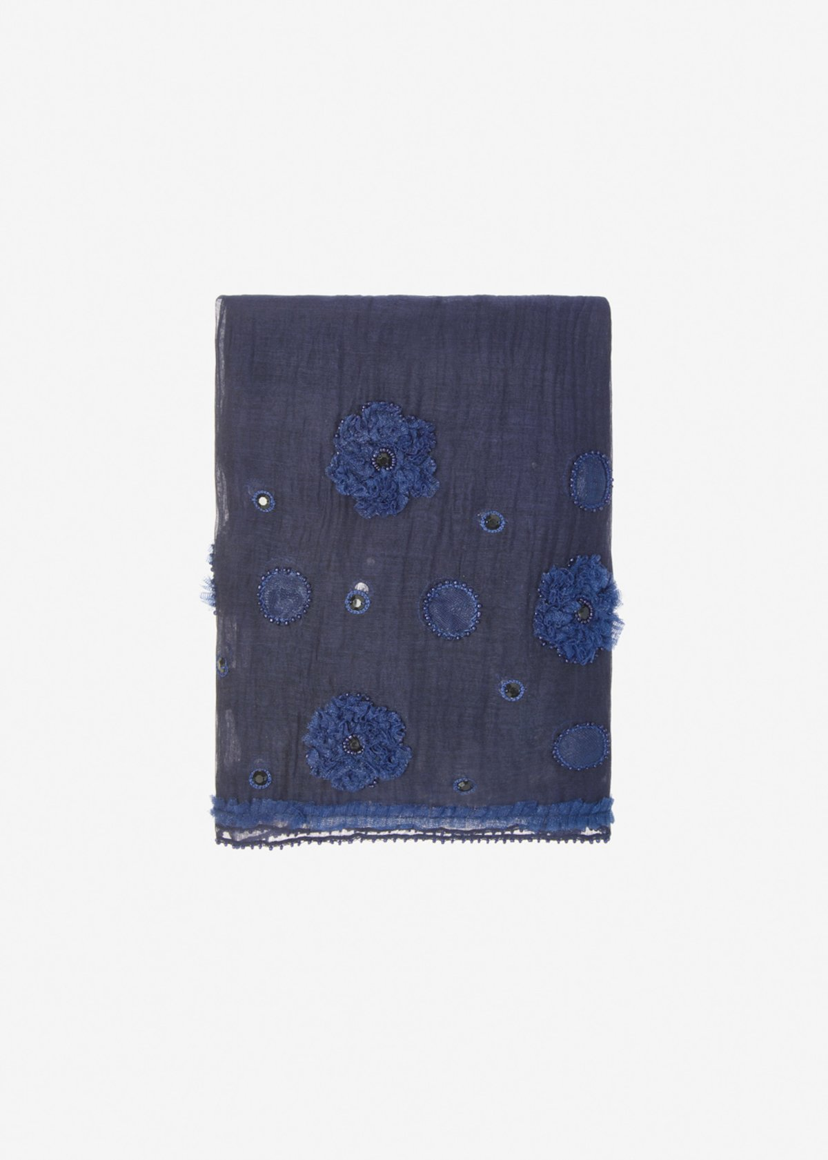 Sfiora silk and cotton scarf with floral embroidery - Medium Blue