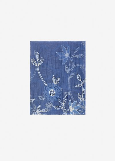 Sallia silk and cotton scarf with flowers embroidery