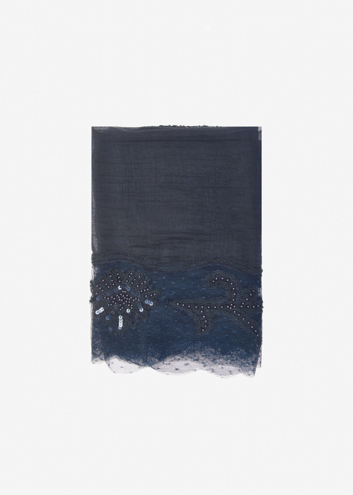 Scocca silk and cotton scarf with beads and sequins detail - Dark Blue