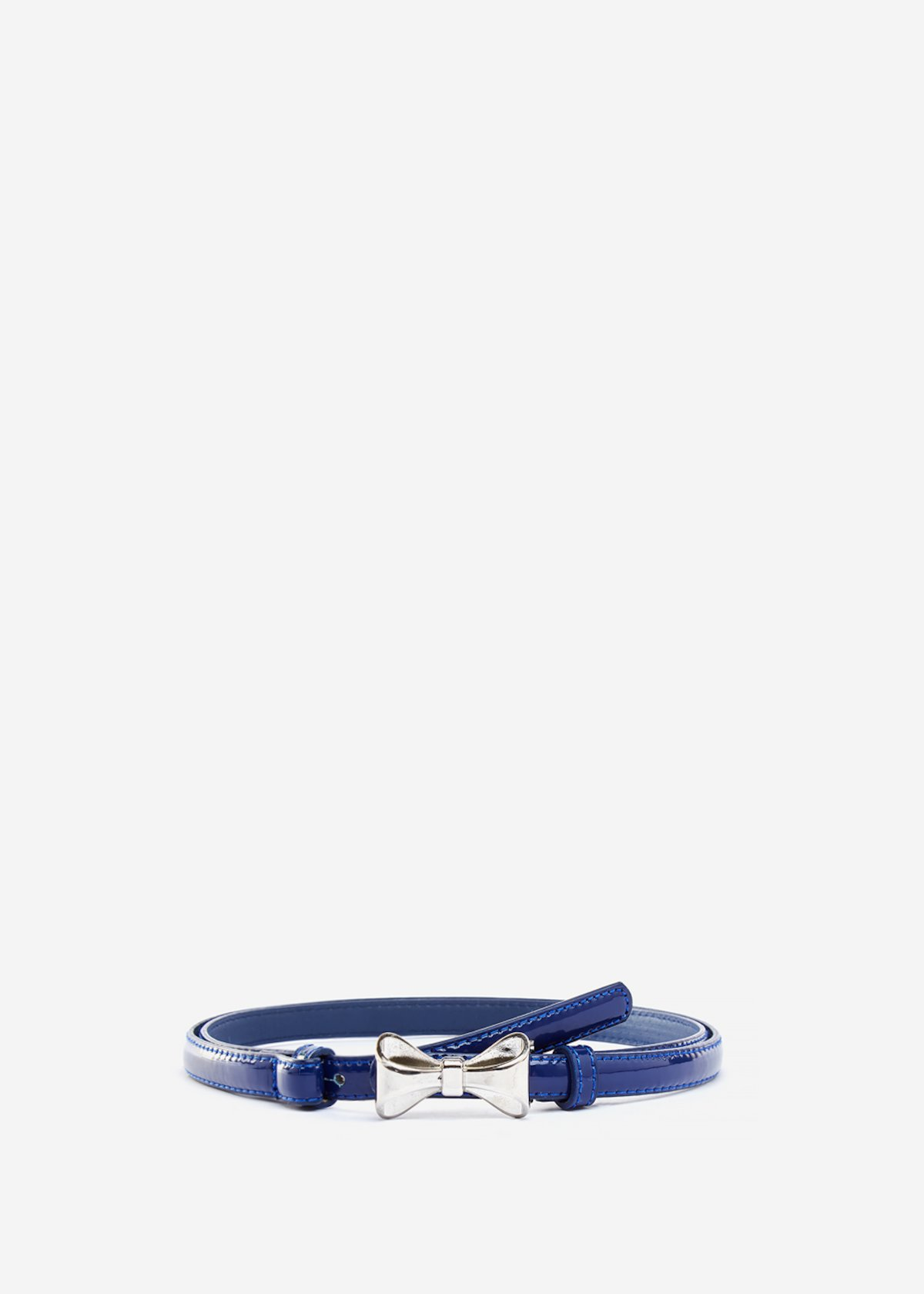 Faux leather Chicca belt with metal bow - Medium Blue