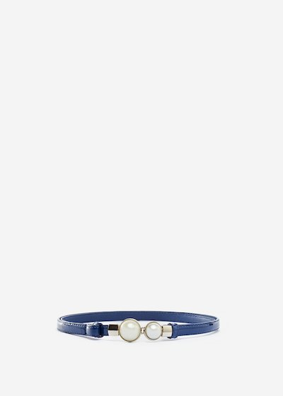Faux-leather Carla belt with pearls detail