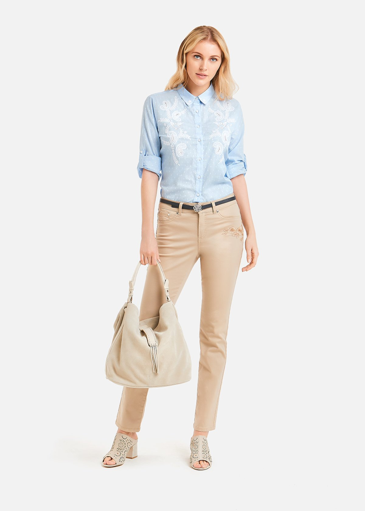 Charley shirt with white embroidery - Morning / White Pois