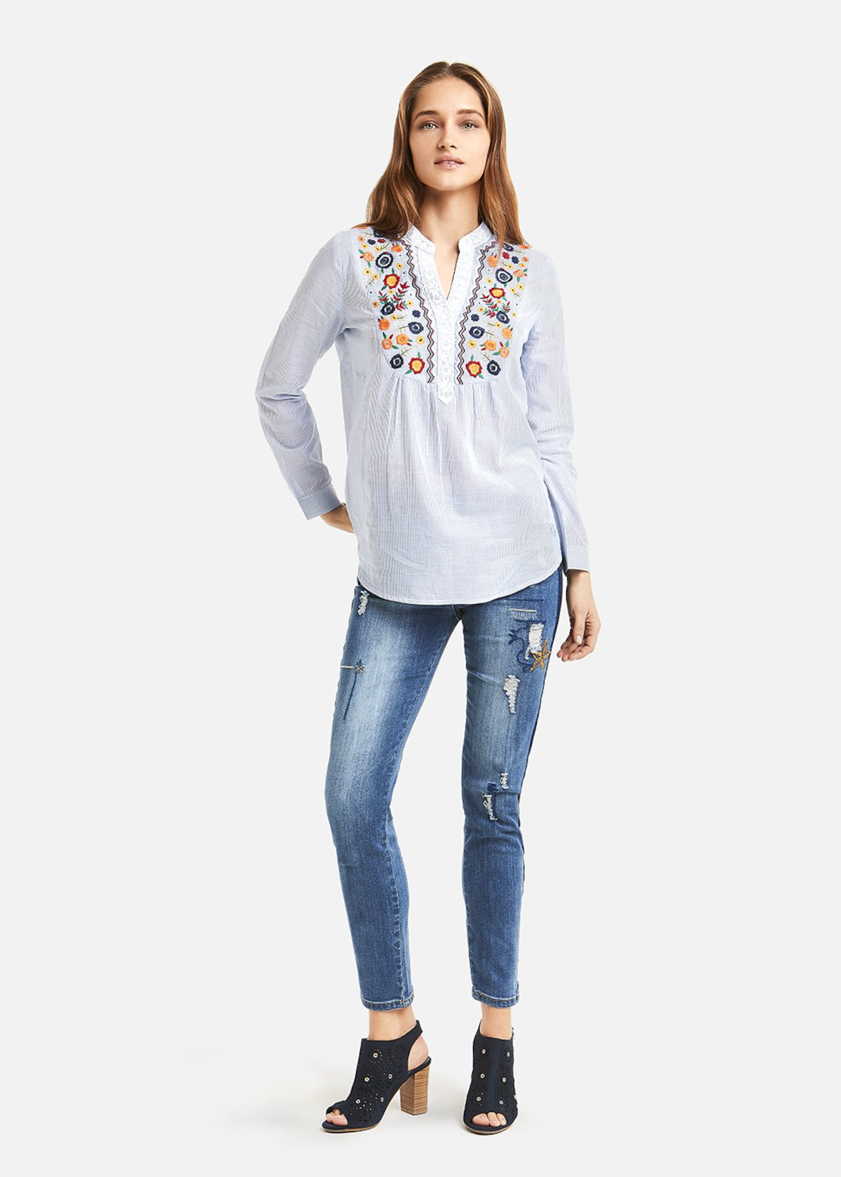 Chelsy multicolour floral embroidered shirt - Morning / White Stripes