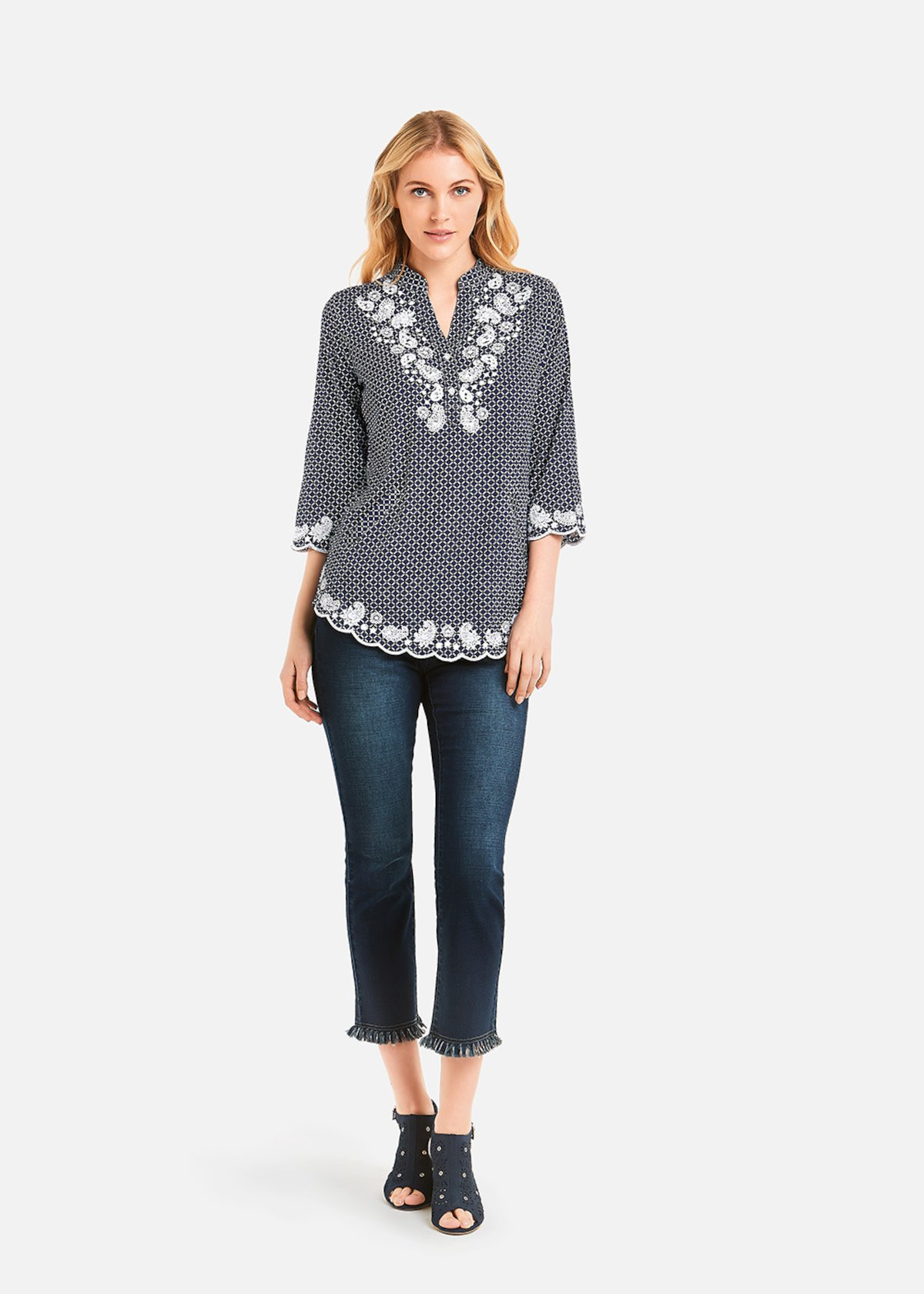 Crissy Shirt geometric pattern - Medium Blue / White Fantasia