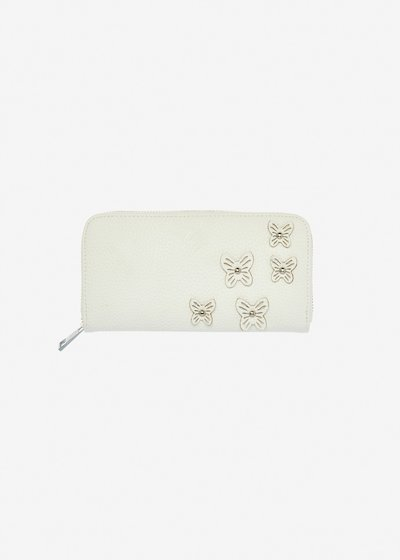 Penelope faux leather wallet with butterfly applications.
