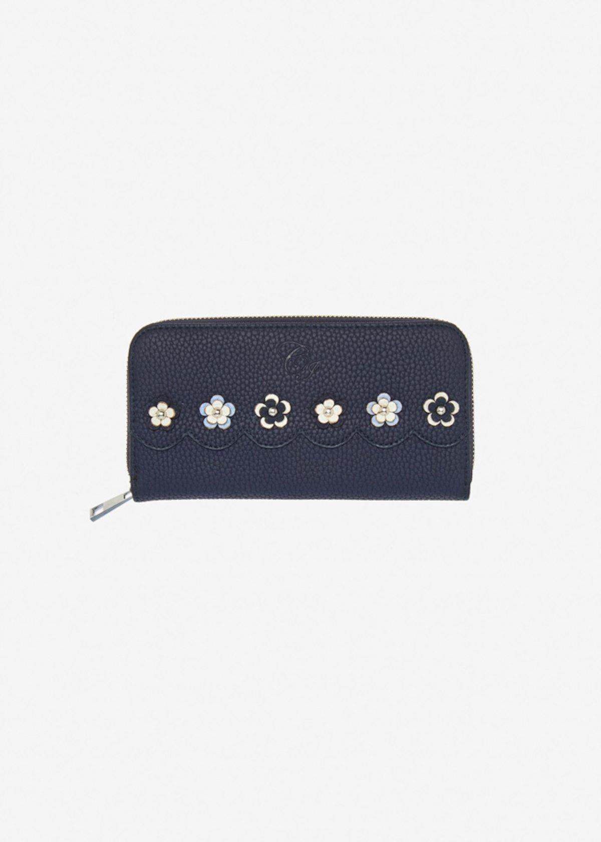 Portafoglio Placy in ecopelle con applicazioni fiori
