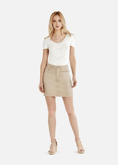Gill light beige cotton mini-skirt