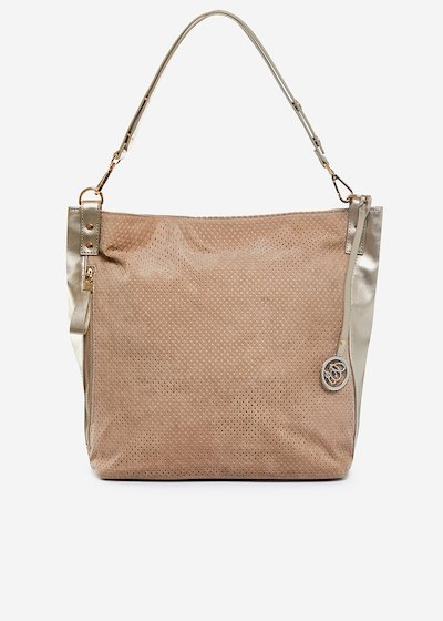 Real suede Bora Hobo bag with leather effect profile