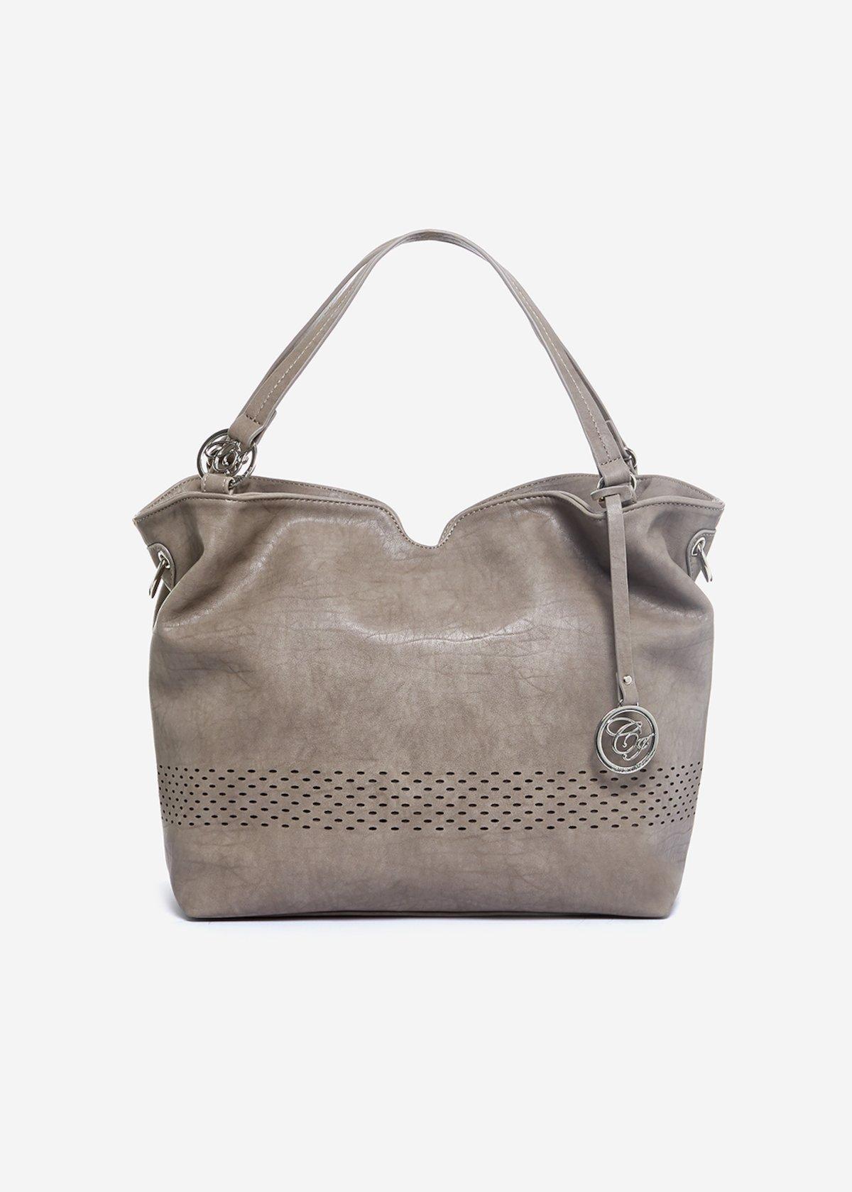 Birka faux leather shoulder bag with perforated fret pattern - Cinder