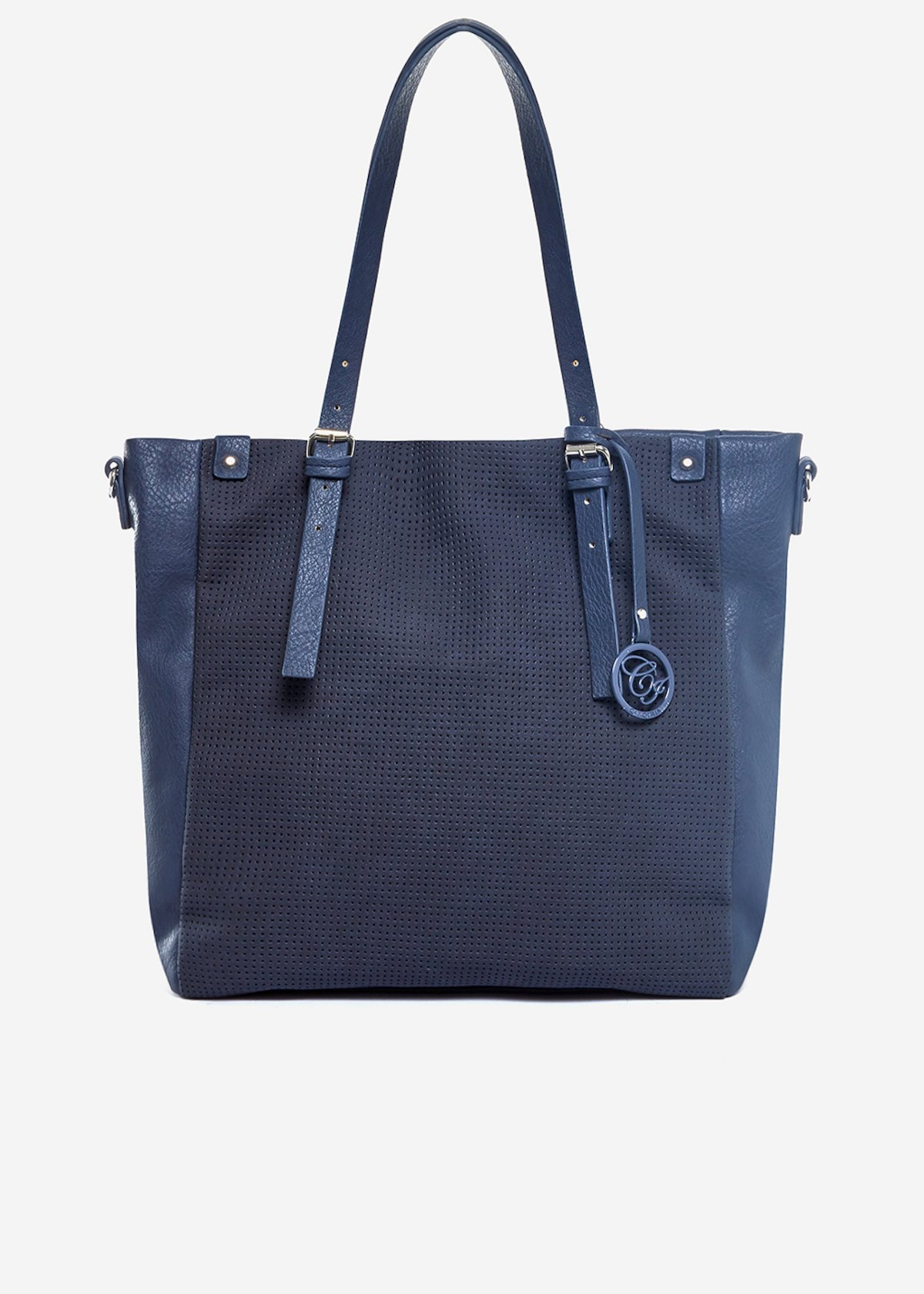Shopping bag Brasia con tasca traforata - Dark Blue