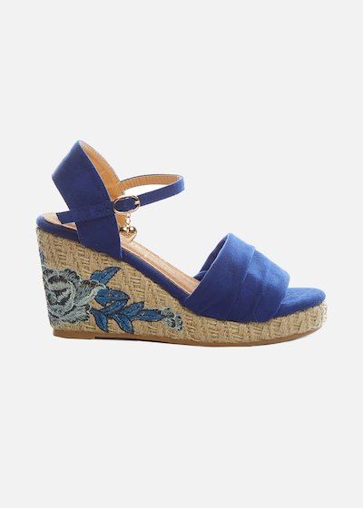Sembry wedge and floral embroidery sandals