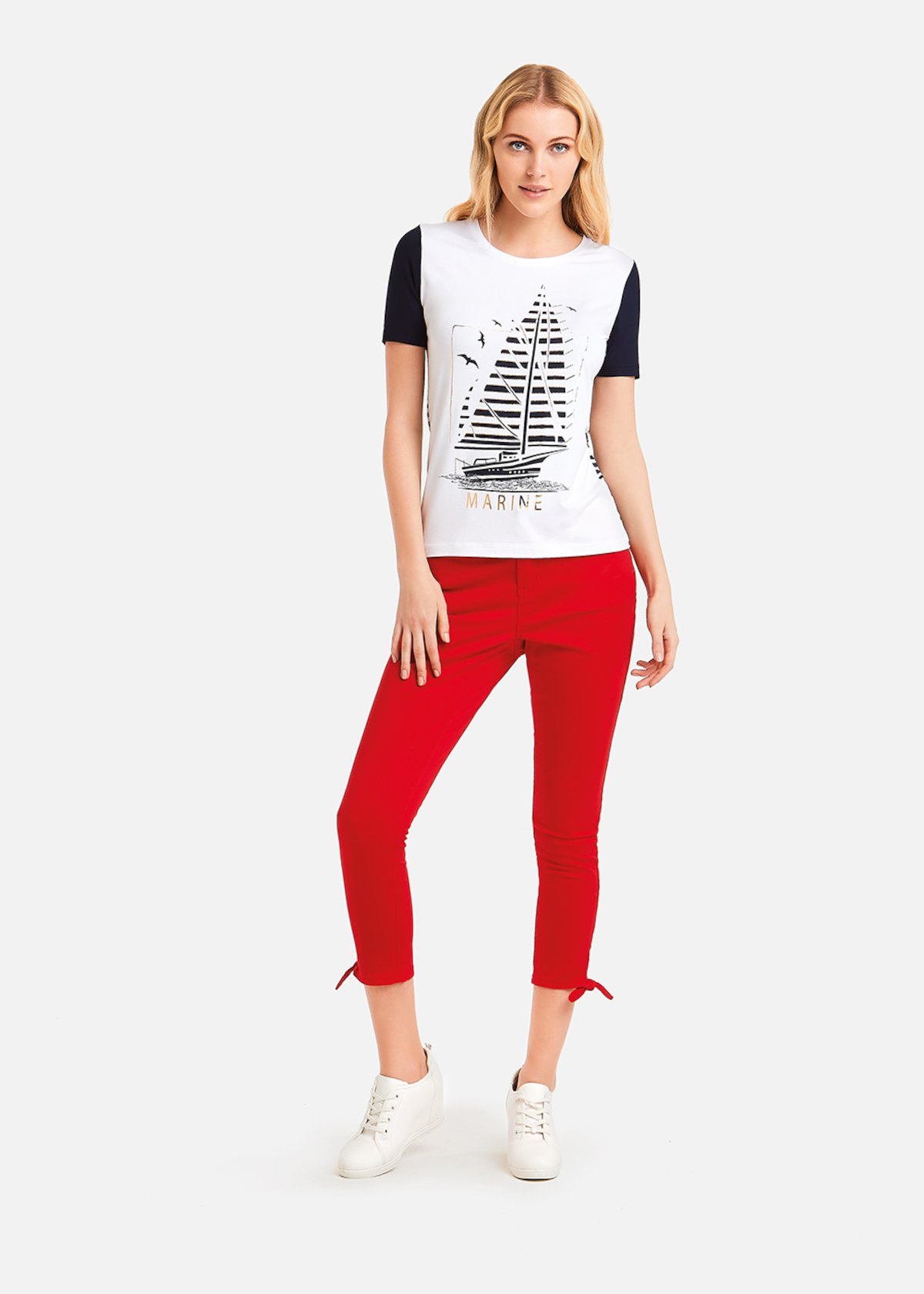 Sandry t-shirt mylar print - White\ Medium Blue