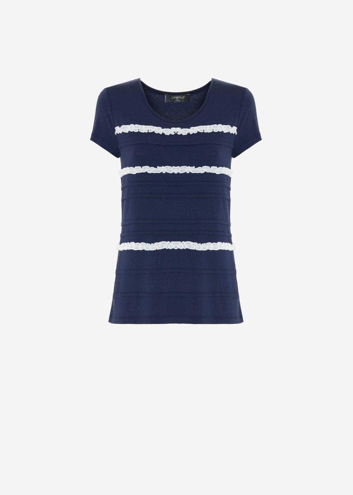Shery ruffled t-shirt - Medium Blue / White
