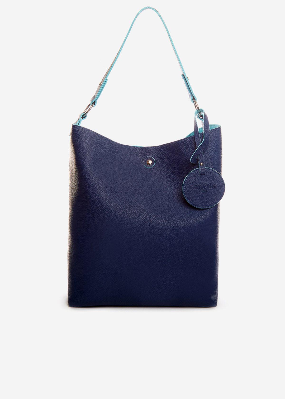 Faux leather double material Briglia shopping bag - Medium Blue
