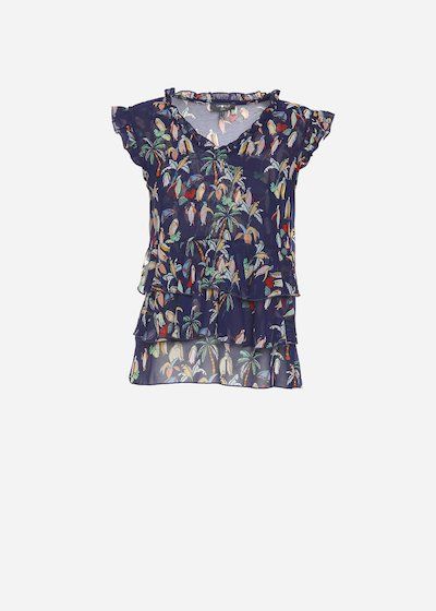 Thom top with patterned printing and rouches around V neck and forward
