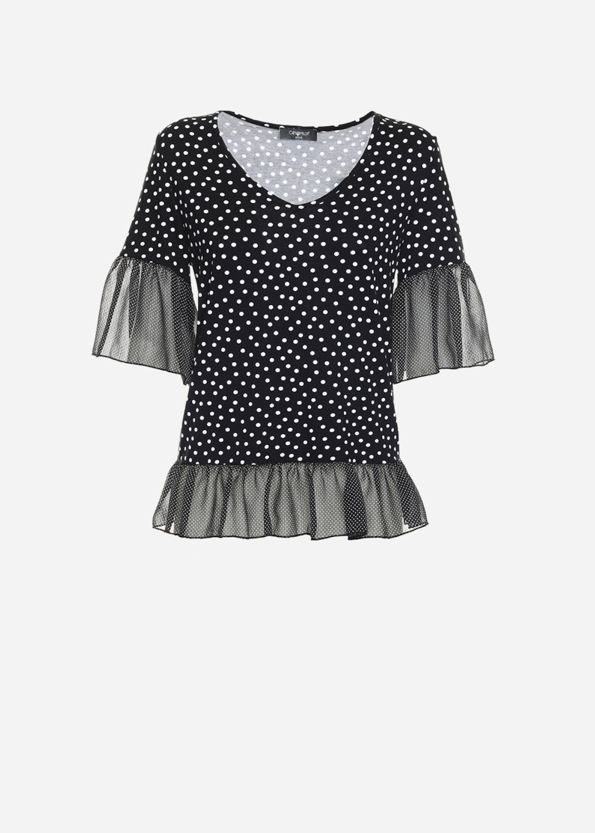 Simon dotted t-shirt with georgette rouches