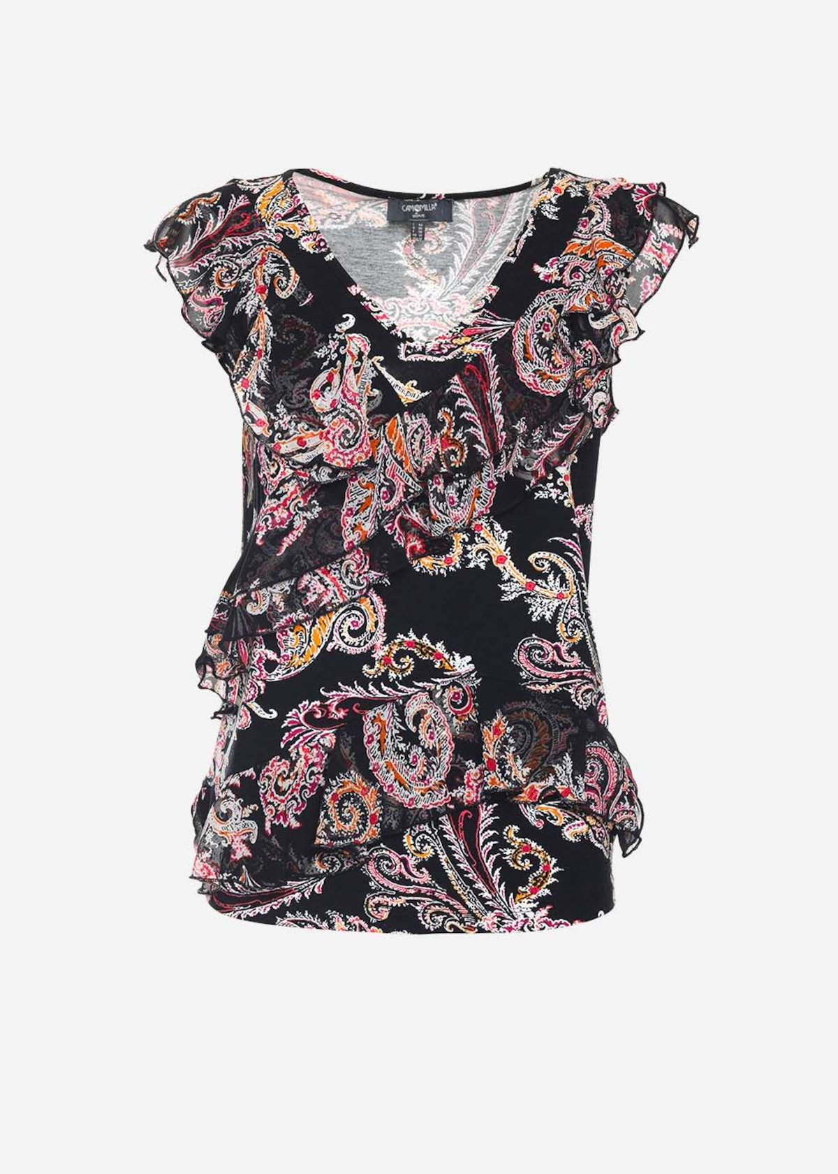 Tiko black top with patterned printing and shoulders-forward rouches - Black / White Fantasia