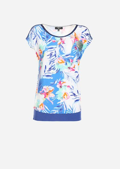 Sabryn lurex edging and sequin patch patterned t-shirt