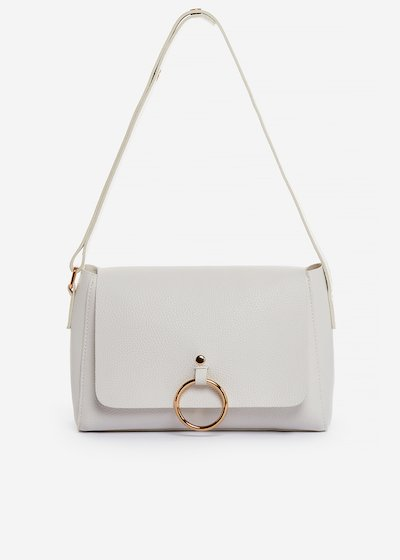 Boralia faux leather small shoulder bag with gold ring detail - Bianco