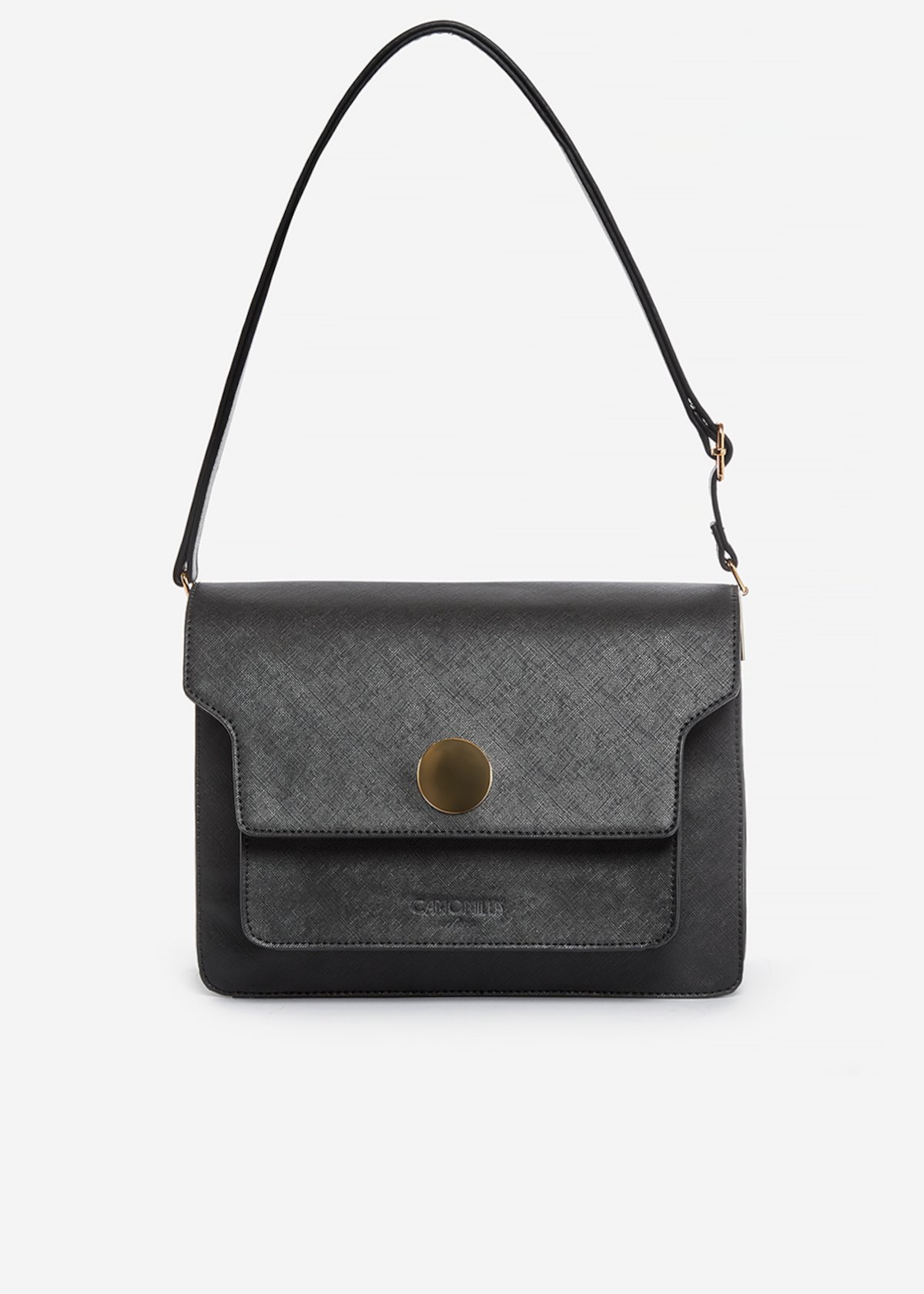Brenda handbag of faux leather saffiano effect with metal ring detail - Black