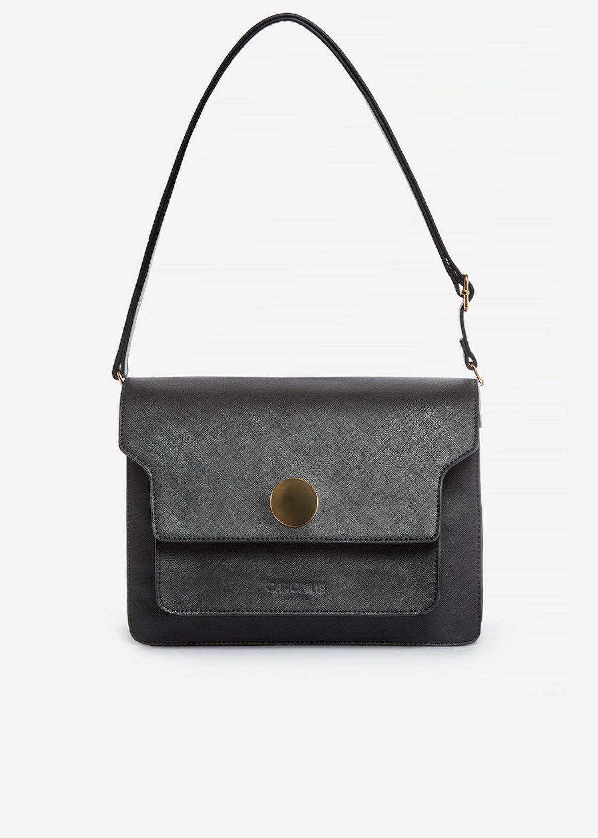 Handbag Brenda in ecopelle effetto saffiano con dettaglio cerchio metal - Black