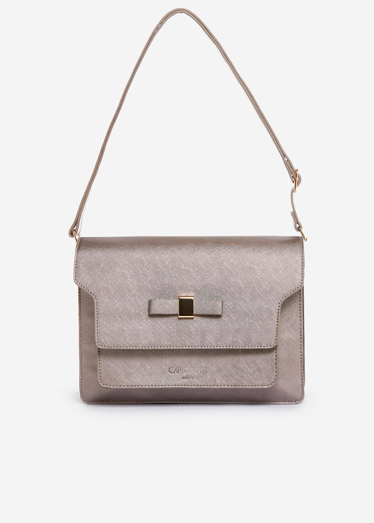Blonda handbag of faux leather saffiano effect with bow detail - Rosa