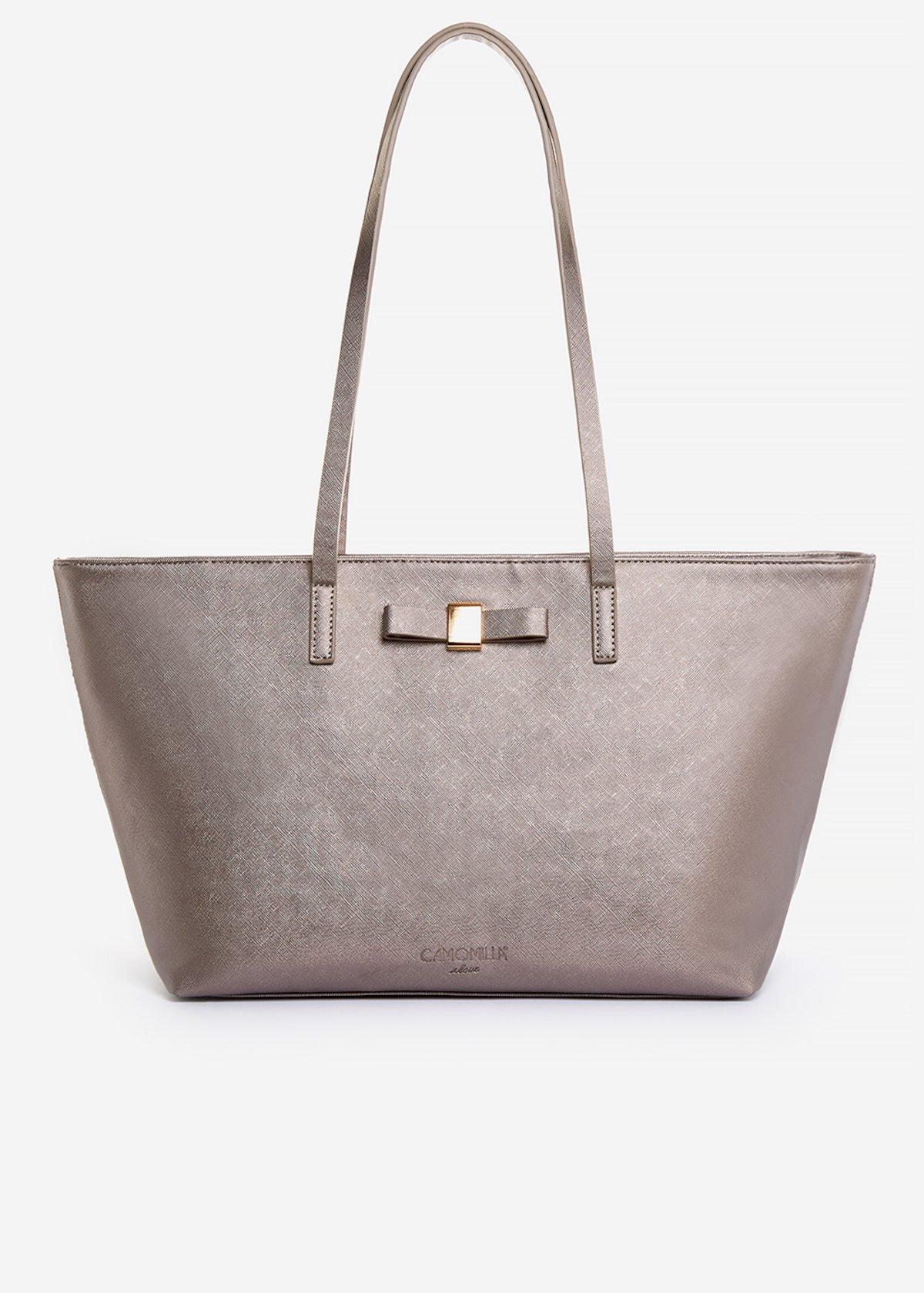 Shopping bag Blady in ecopelle effetto saffiano con dettaglio fiocco - Pink