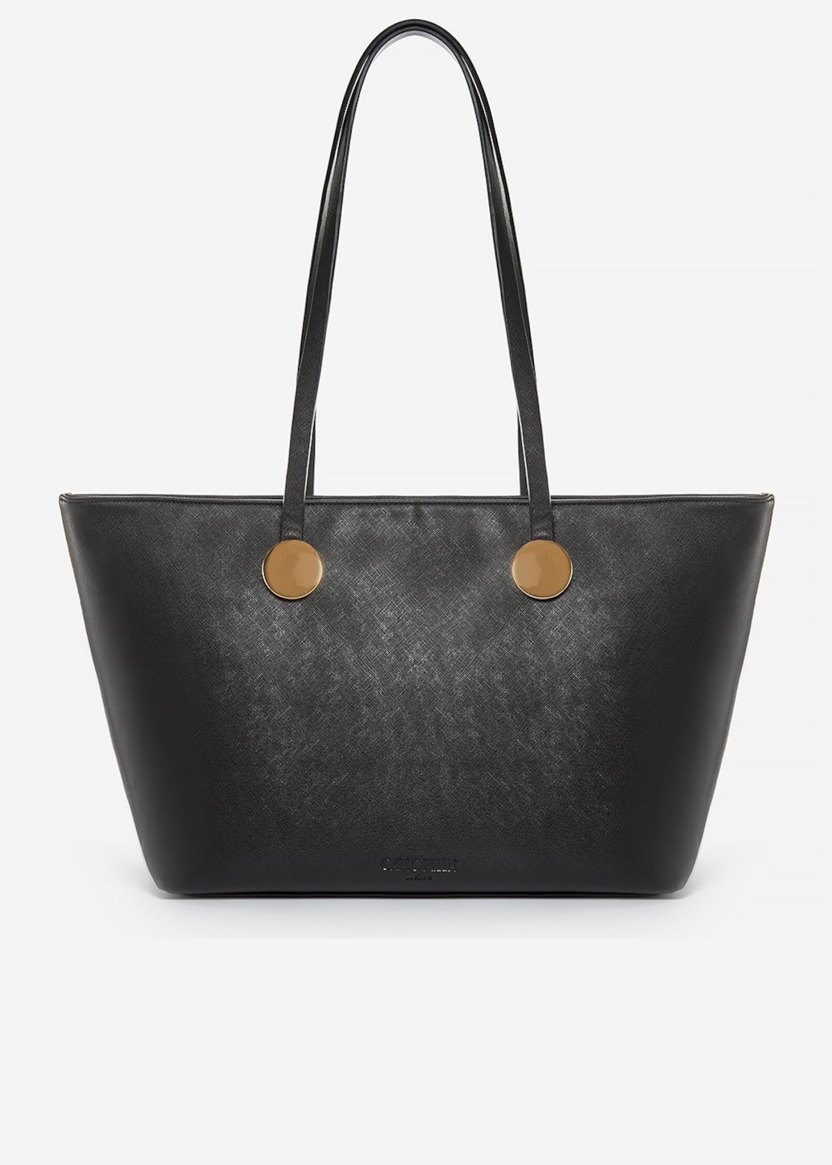 Brisha shopping bag of faux leather saffiano effect with metal ring detail - Black
