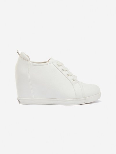 Sissy inside wedge shoes in canvas - Bianco