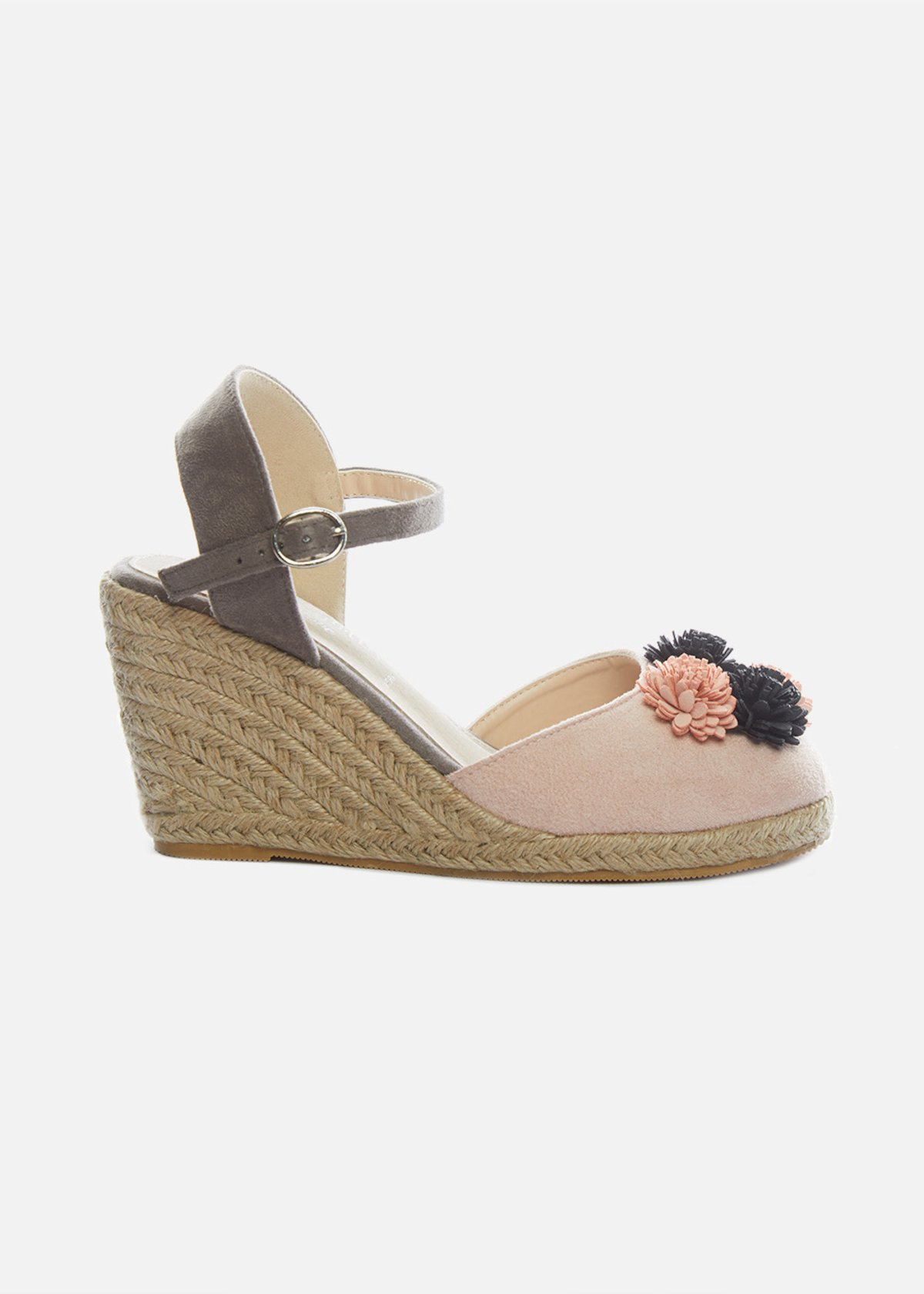 Straw wedge and floral design Soleya sandals - Pink