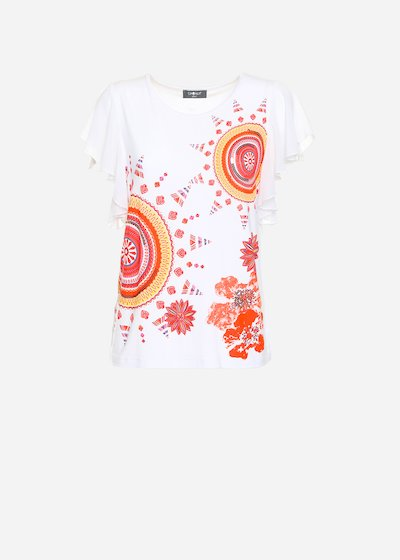 Seby t-shirt with multicolour printing and sleeves georgette volant