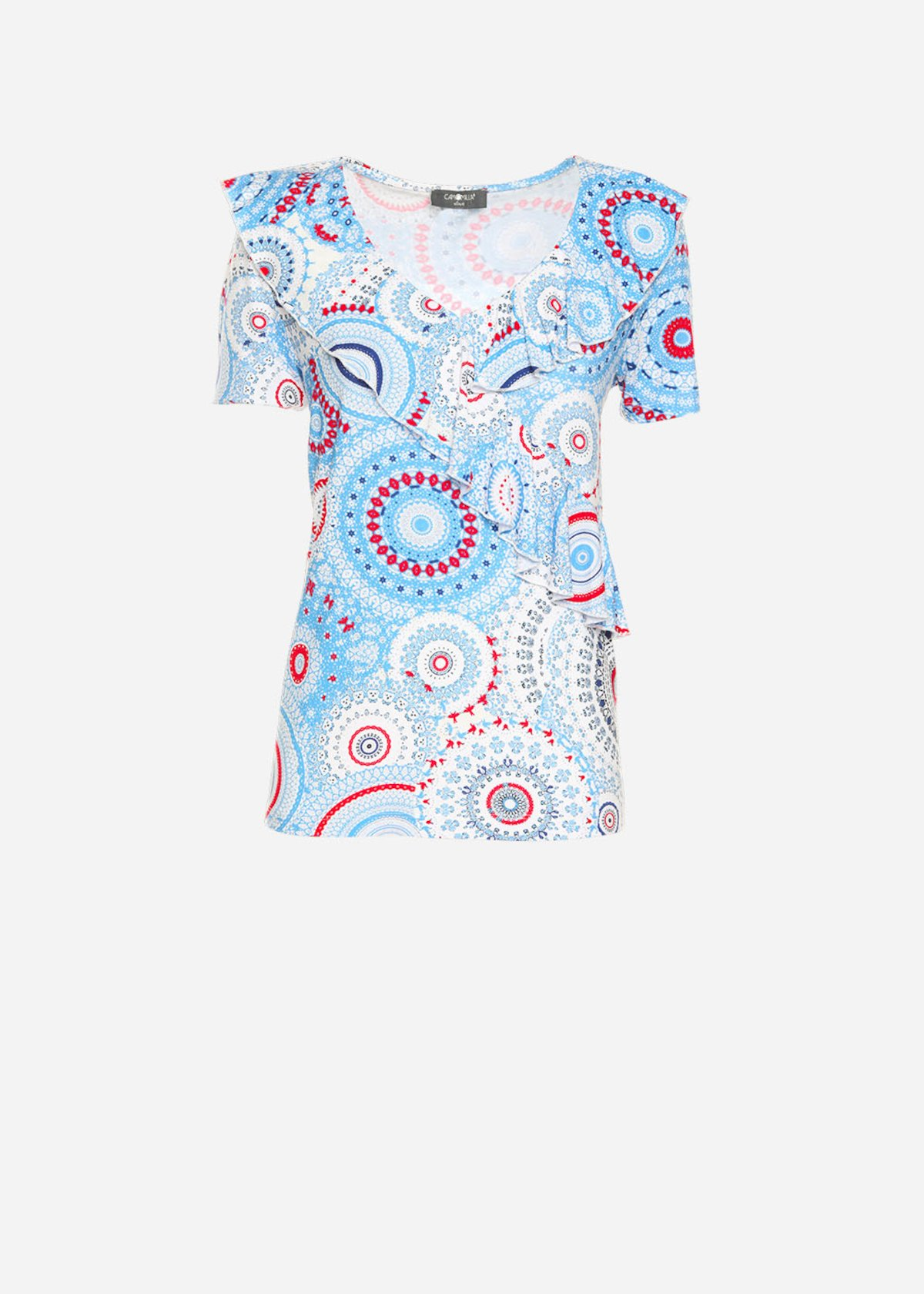 Semmy t-shirt with geometric print and ruches
