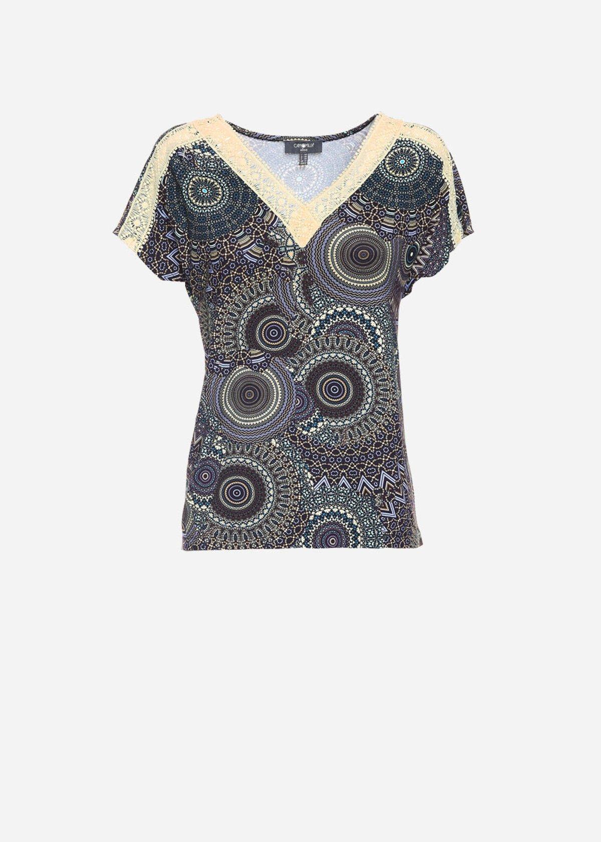 T-shirt Seraph con stampa geometrica e dettagli in pizzo