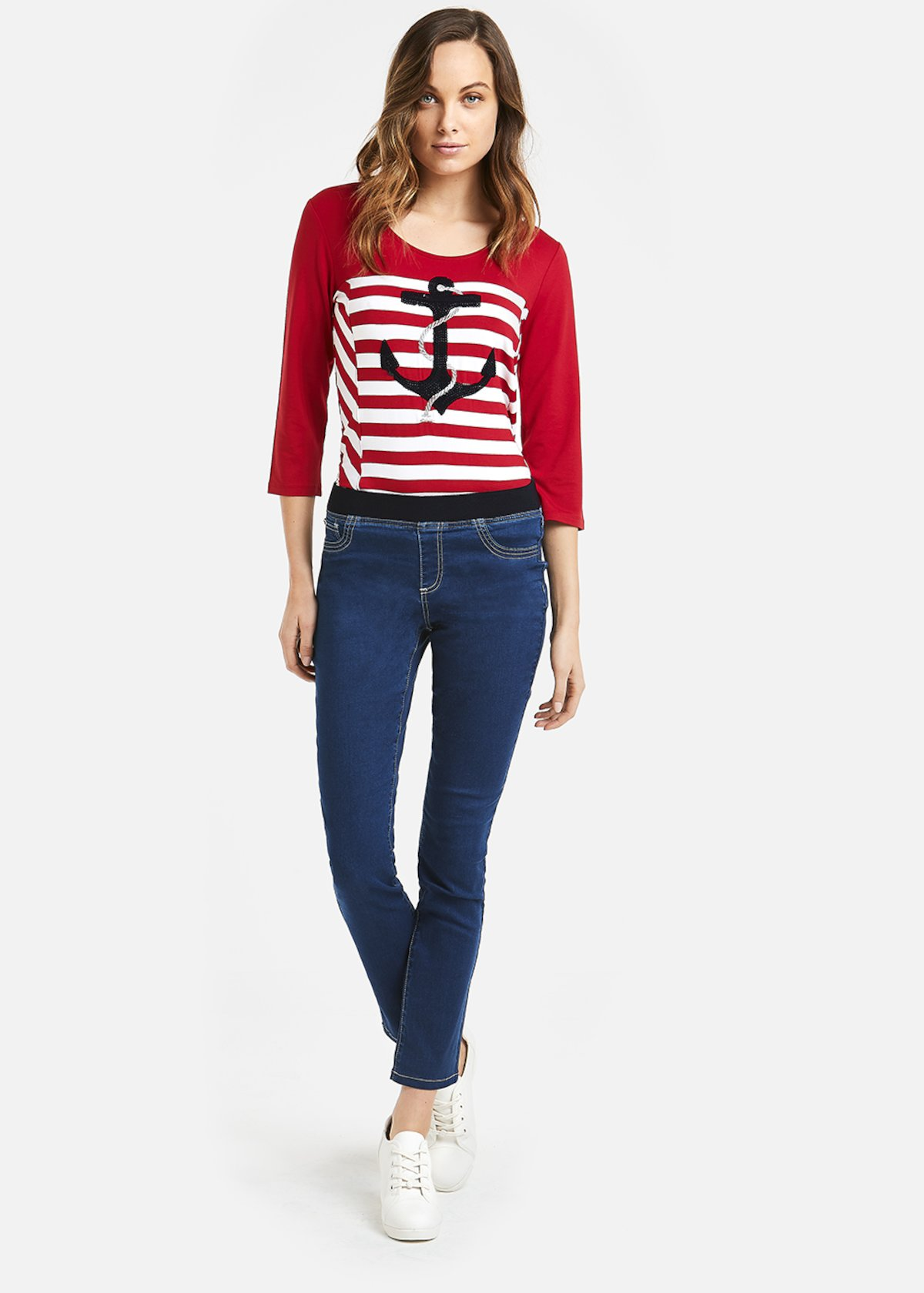 Saint t-shirt with embroidered anchor - Rouge / White Stripes