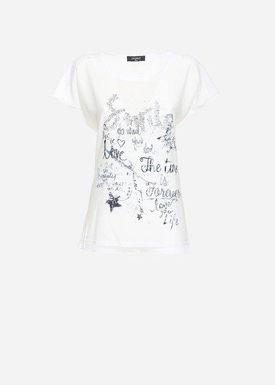 T-shirt Sonja con inserti di pizzo e strass